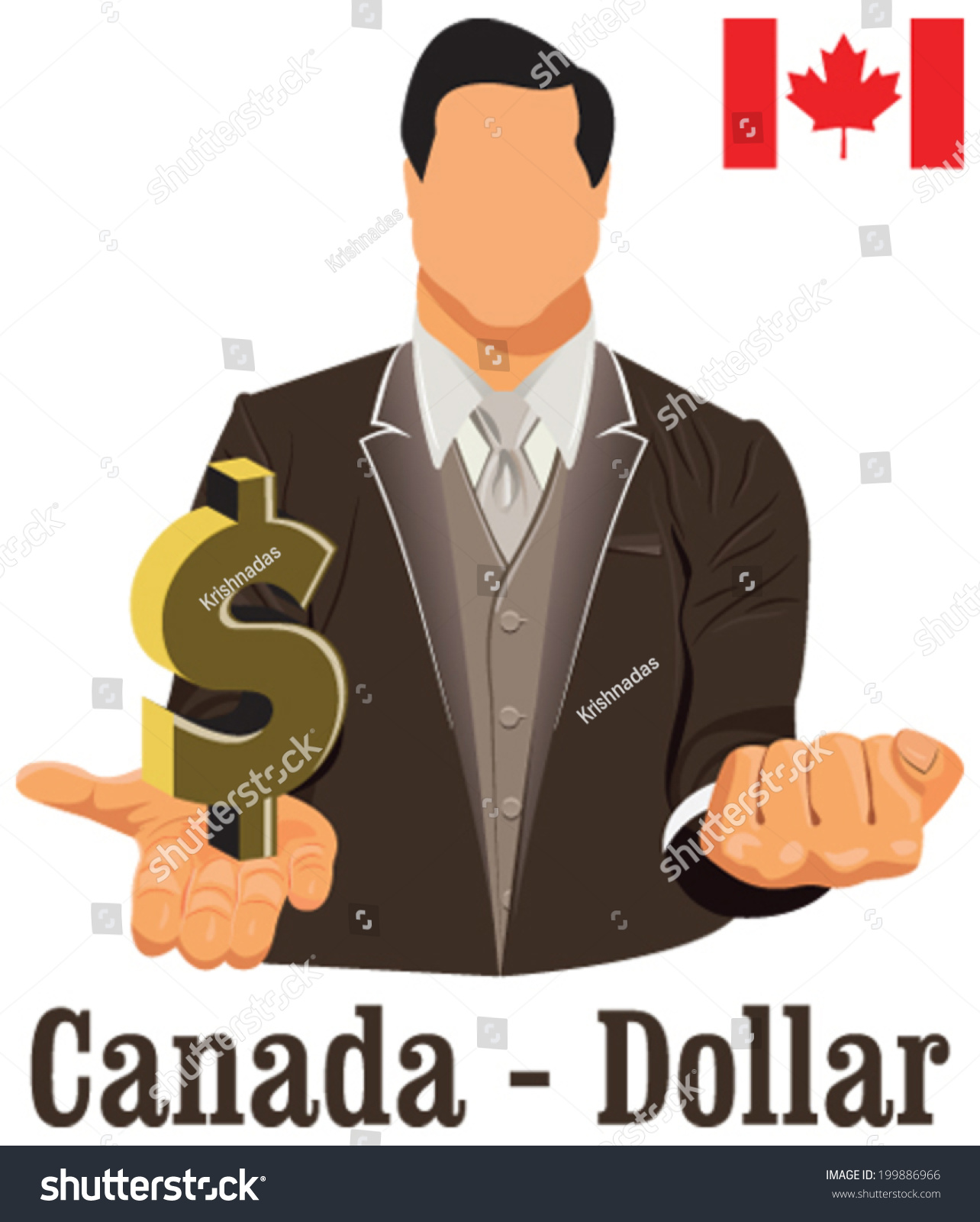 Canada National Currency Canadian Dollar Symbol Stock Vector