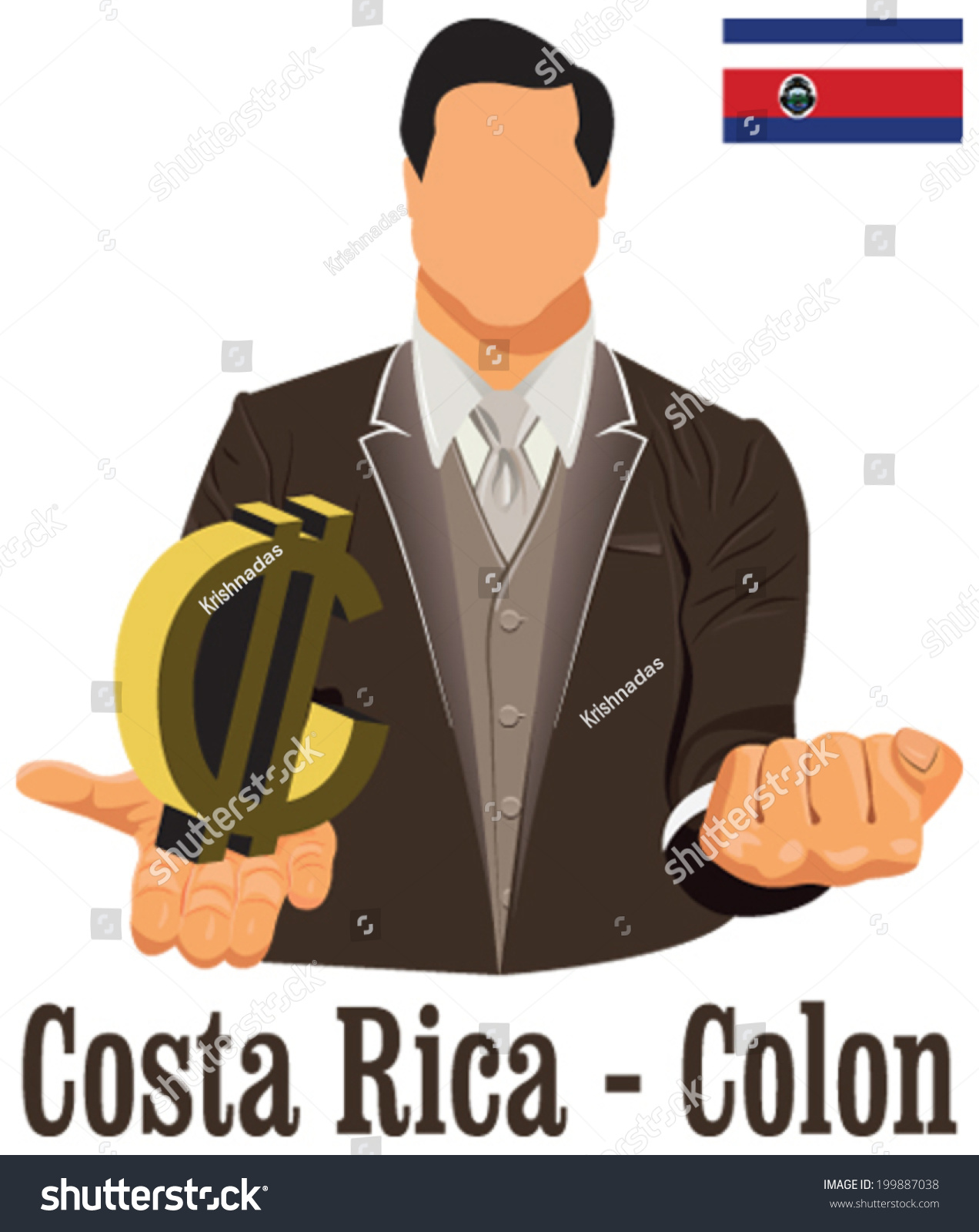 Costa Rica National Currency Costa Rican Stock Vector Royalty Free
