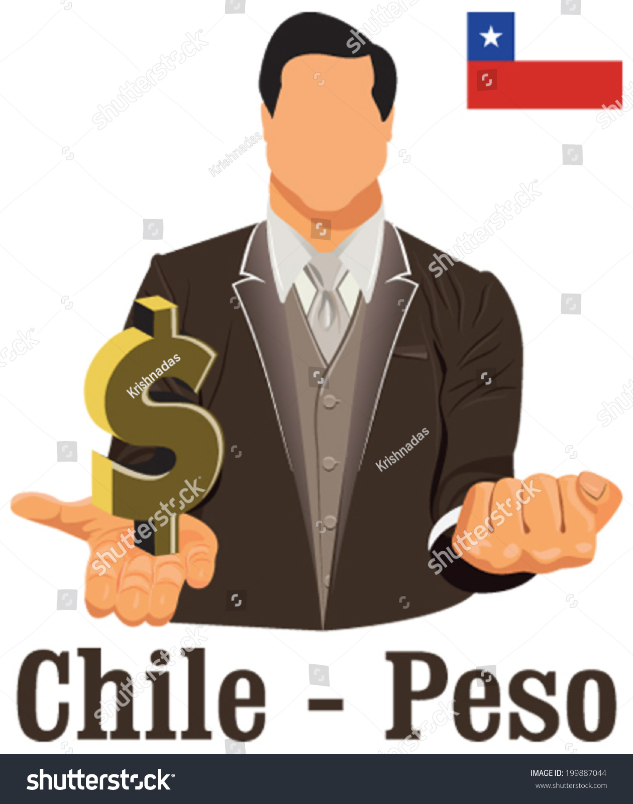 Chile National Currency Chilean Peso Symbol Stock Vector Royalty