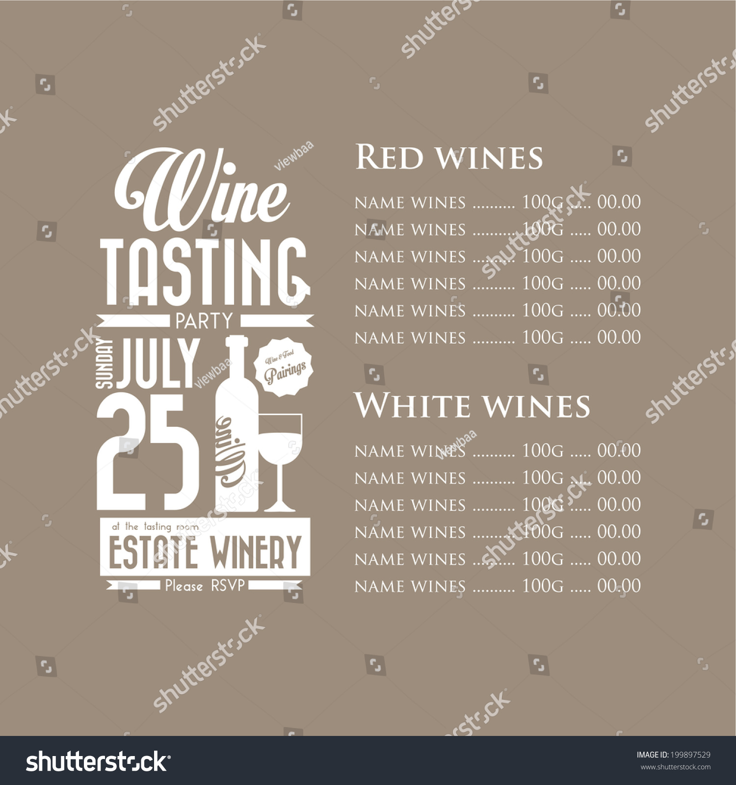 Royalty free vintage wine tasting party invitation 199897529 vintage wine tasting party invitation menu design brown template illustration 199897529 pronofoot35fo Images