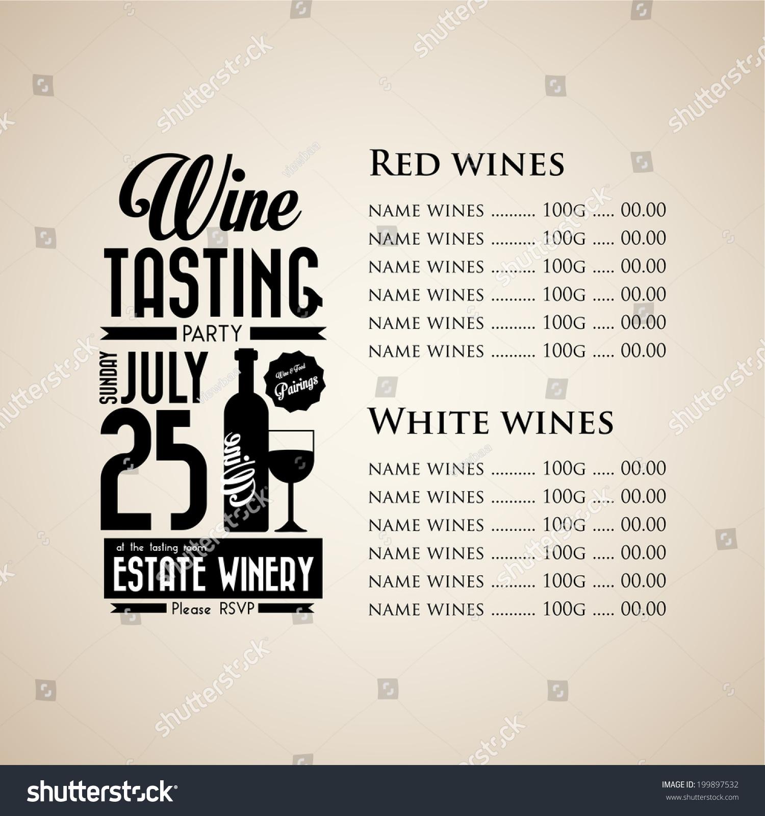 Vintage Wine Tasting Party Invitation Menu Vector 199897532 – Wine Tasting Party Invitation
