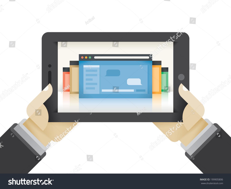 Instant Messaging Computer : Businessman hands holding tablet computer internet stock