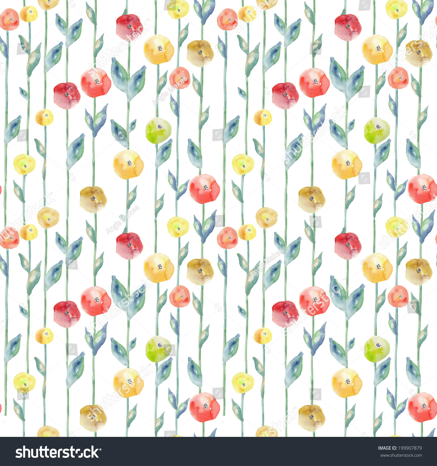 Cute Red Yellow Cute Watercolor Floral Stock Illustration 199907879