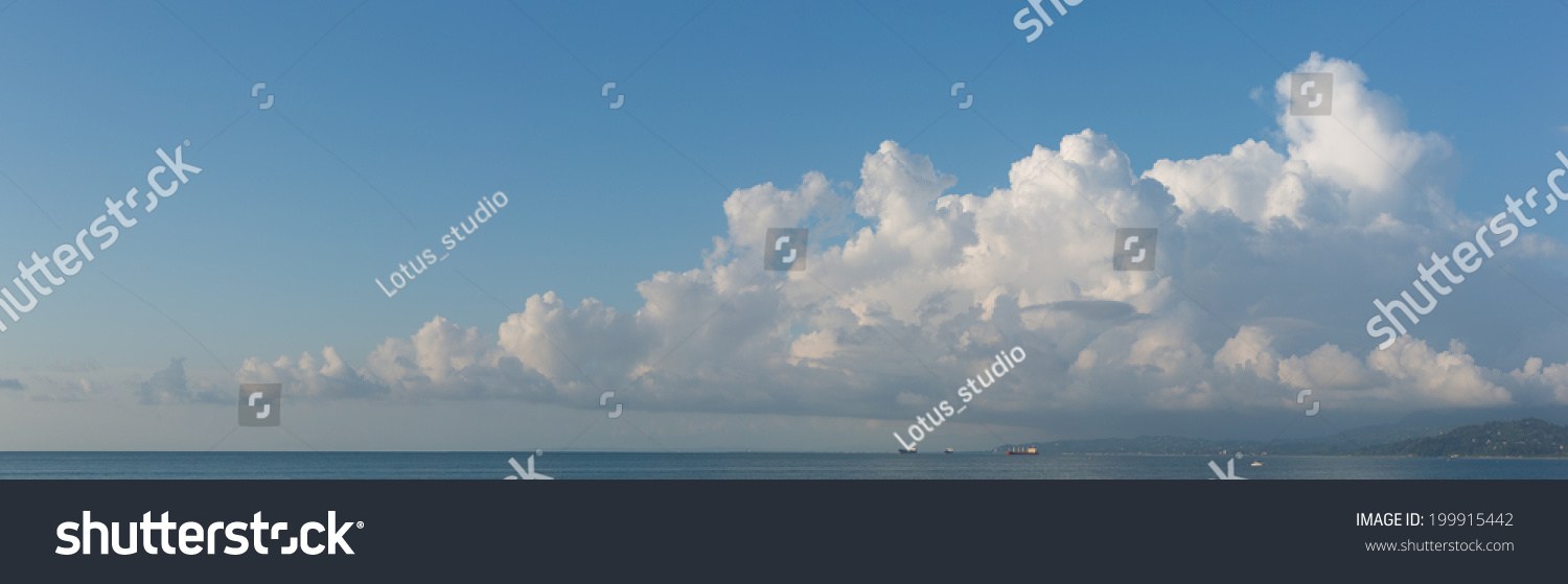 cloudscape horizontal banner or panorama of beautiful fluffy white cumulus clouds in a sunny. Black Bedroom Furniture Sets. Home Design Ideas