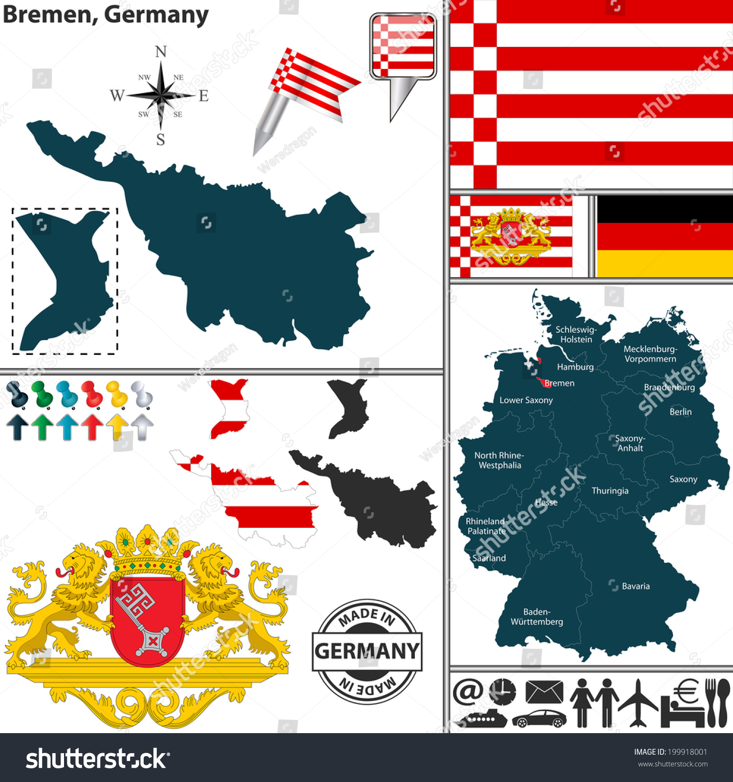 Vector Map State Bremen Coat Arms Stock Vector - Germany map bremen