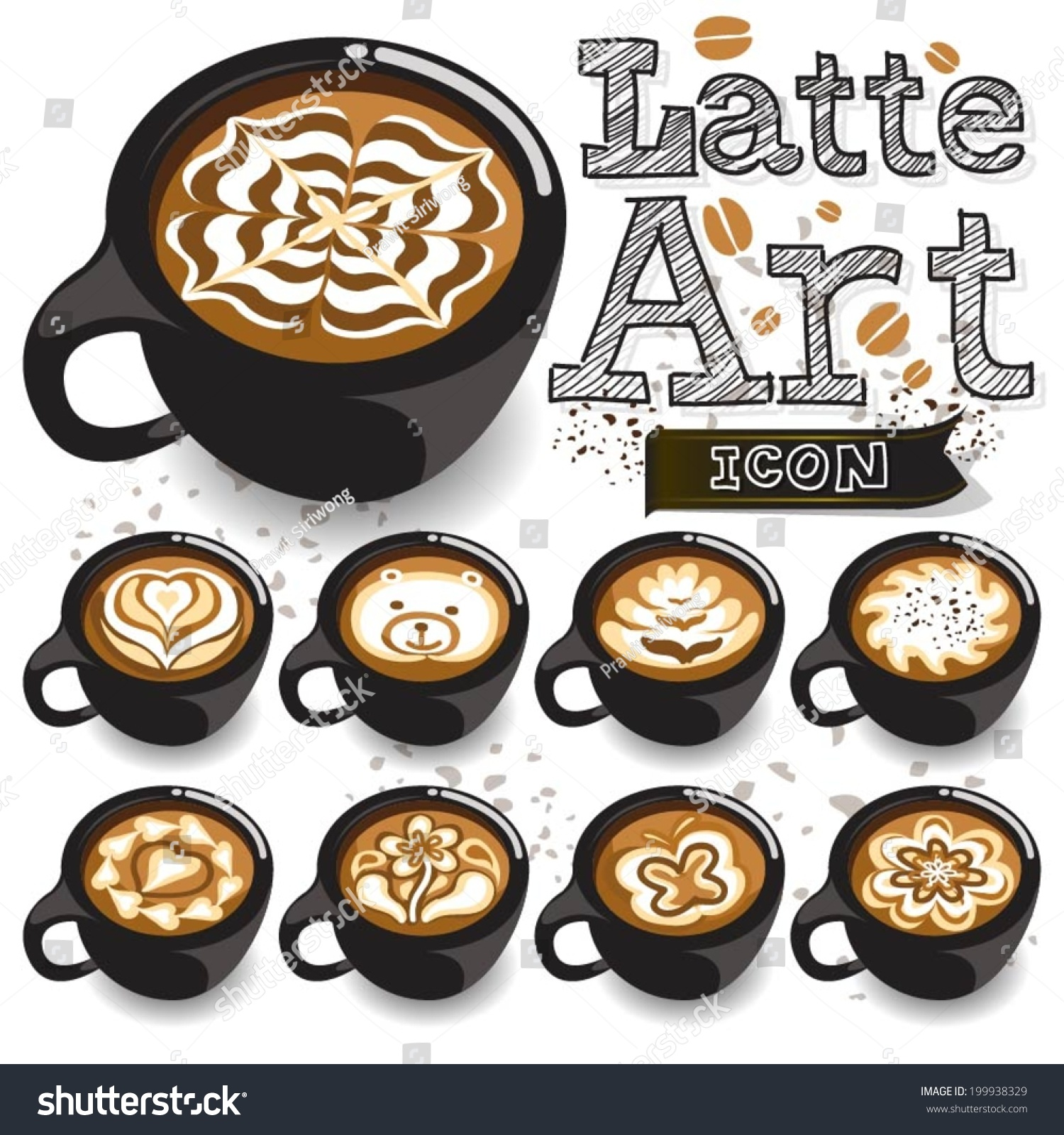 Coffee Latte Art Black Cup Stock Vector 199938329