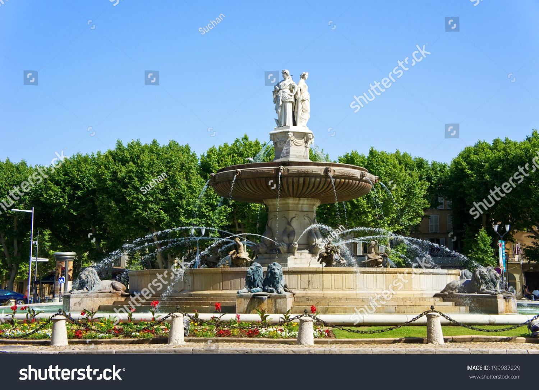 La Rotonde Fountain In Aix En Provence France Stock Photo