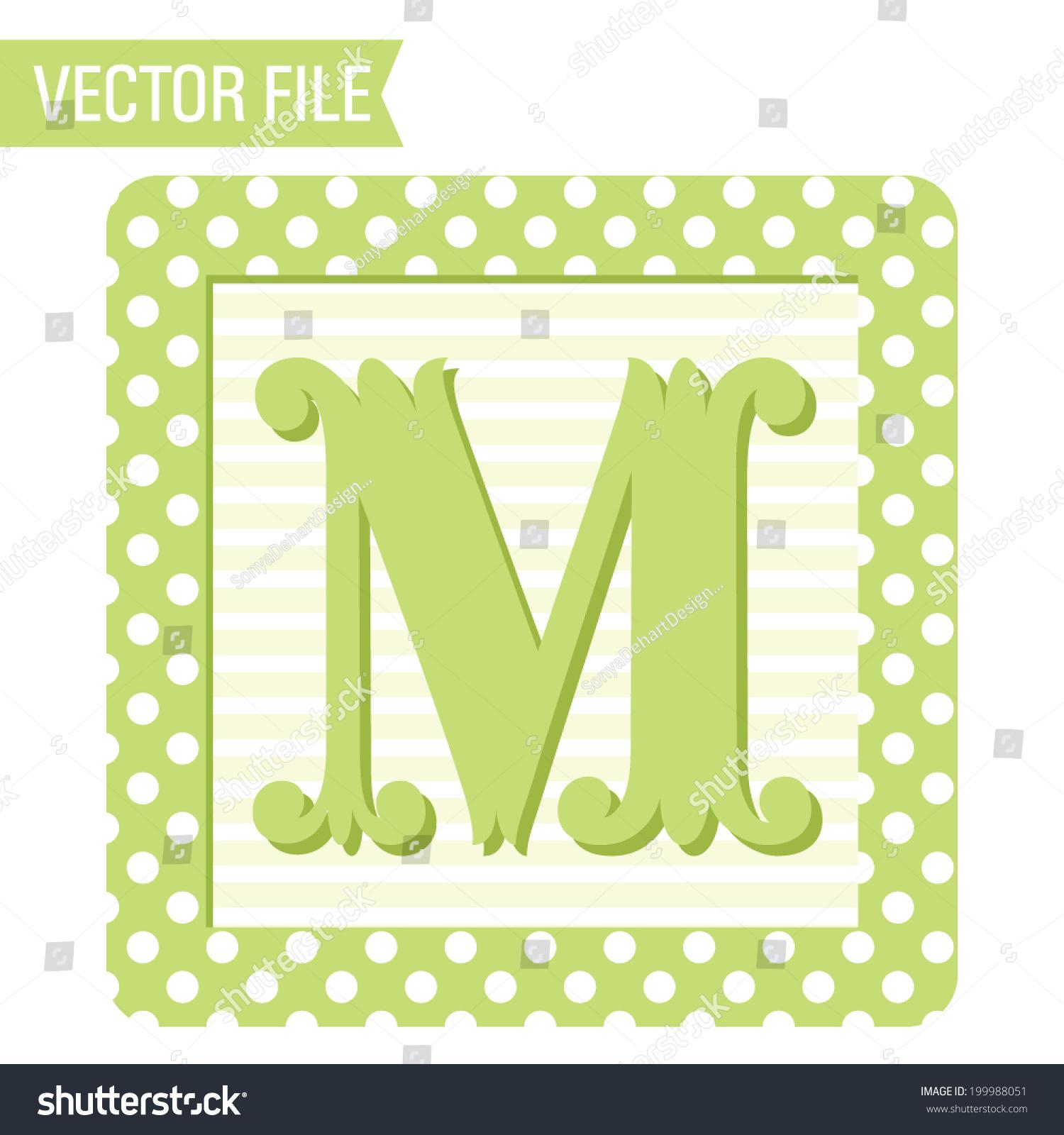 Vector Polka Dots Baby Block Letter Stock Vector