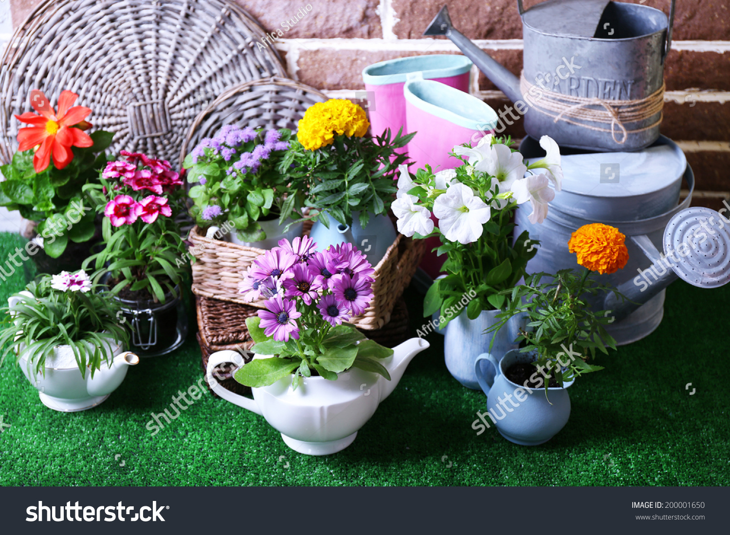Flowers Decorative Pots Garden Tools On Stock Photo (Royalty Free ...