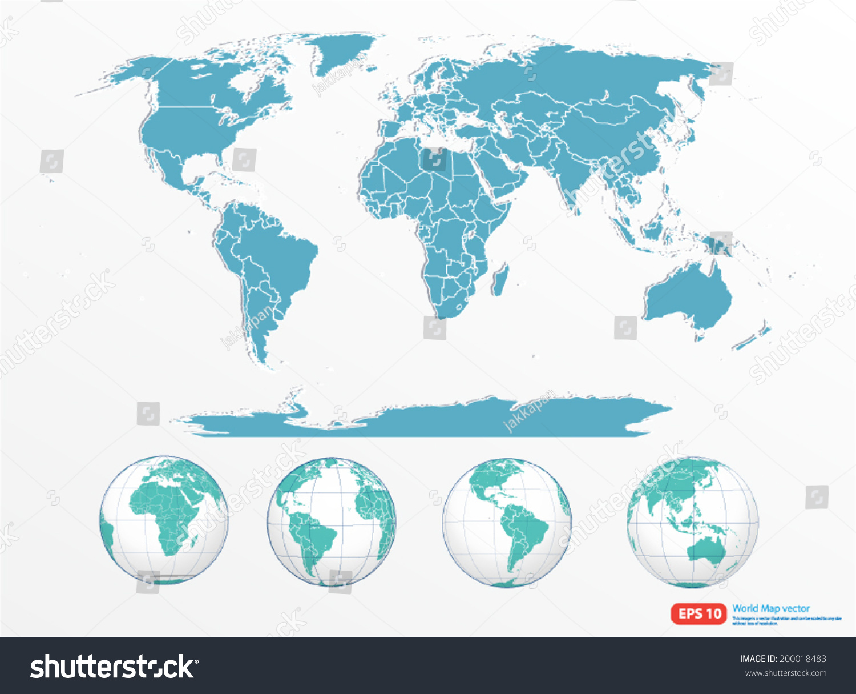 World map globe vector format stock vector 2018 200018483 world map with globe vector format gumiabroncs Gallery