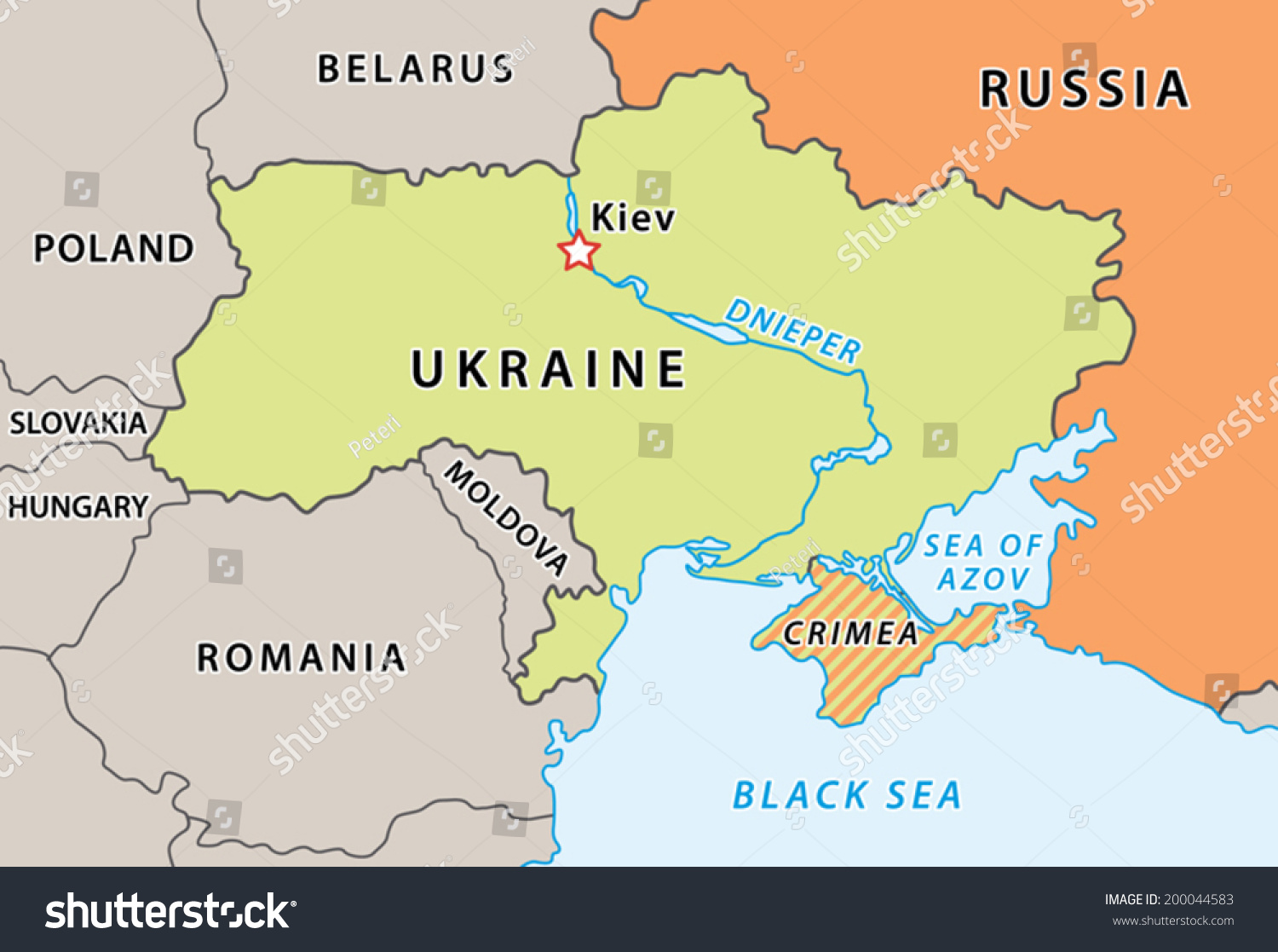 Ukraine Map After Crimean Crisis 2014 Stock Vector Royalty Free