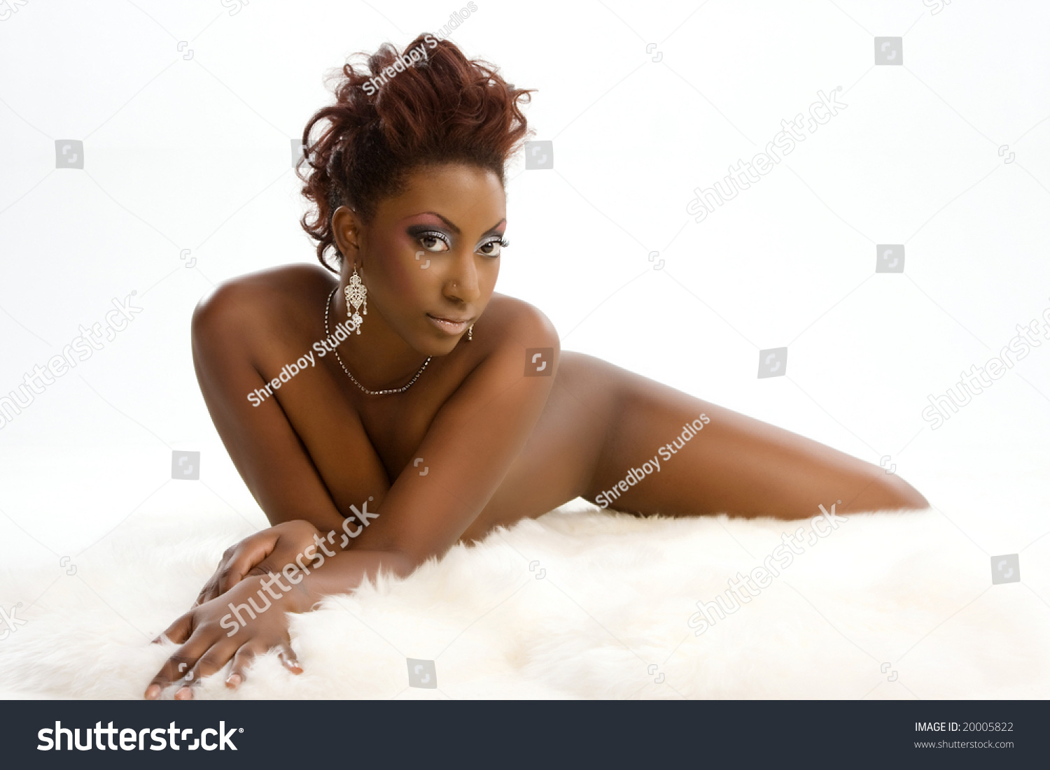 sexy nude african american girl lying stock photo (royalty free