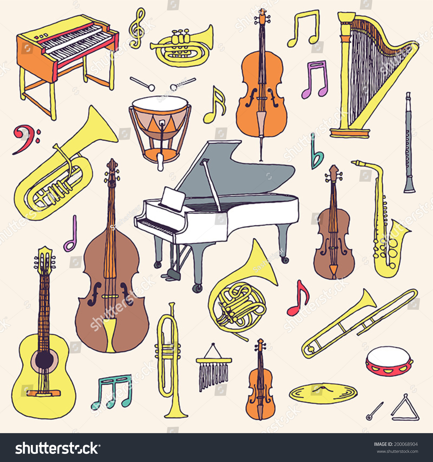 Hand Drawn Colorful Musical Instruments Classical Stock Vector ...