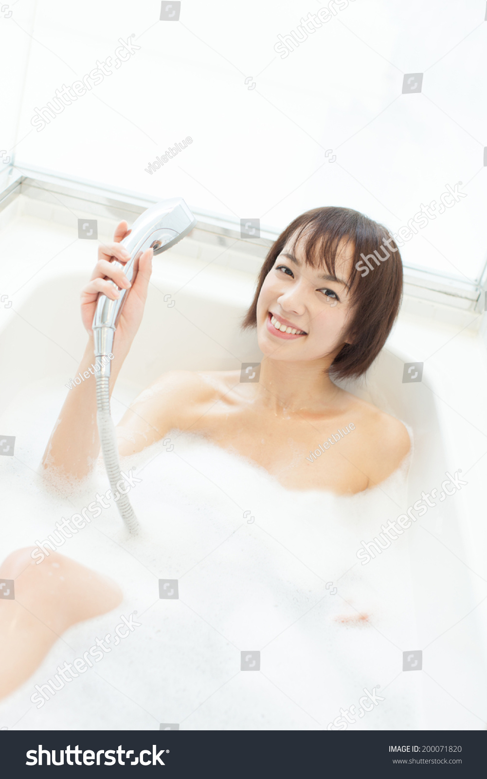Young Woman Taking Shower Bath Stock Photo (Download Now) 200071820 ...
