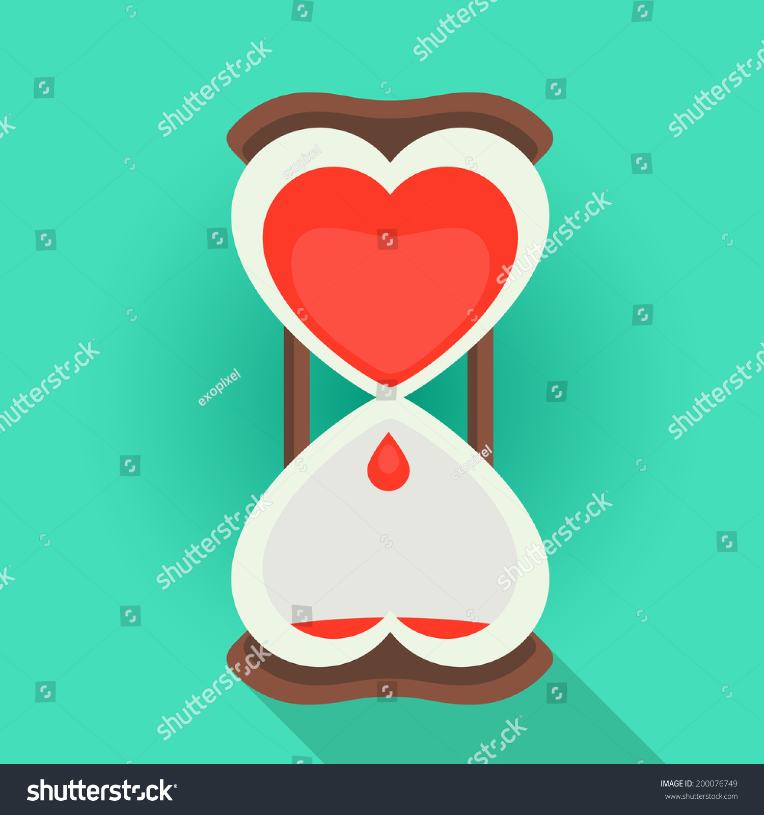 Spending time love flat style vector stock vector 200076749 spending time in love flat style vector illustration of a sandglass watches with the bleeding heart buycottarizona
