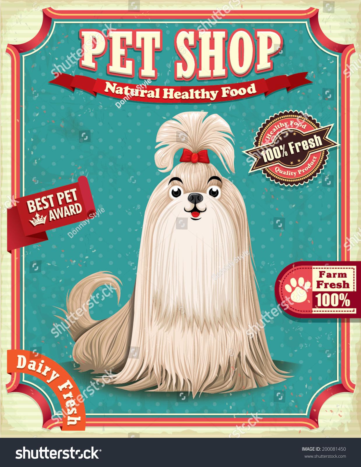 Vintage Pet Shop Poster Design Vector 200081450 Shutterstock – Pet Poster