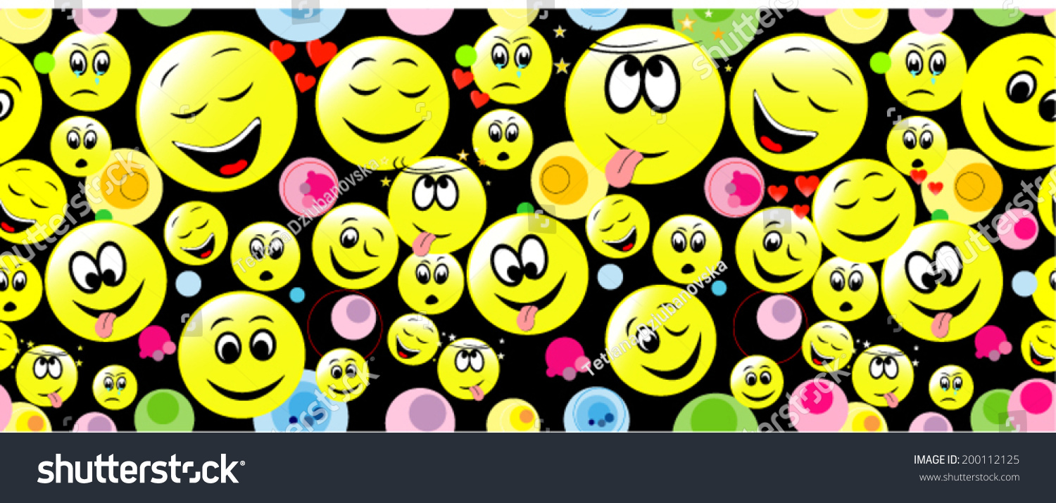Colorful Seamless Pattern Smiley On Black Stock Vector