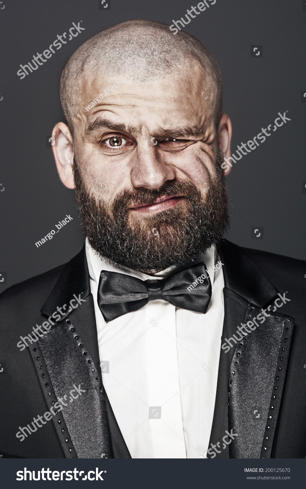 Excellent Stylish Brutal Bald Man Beard Elegant Stock Photo 200125670 Short Hairstyles For Black Women Fulllsitofus