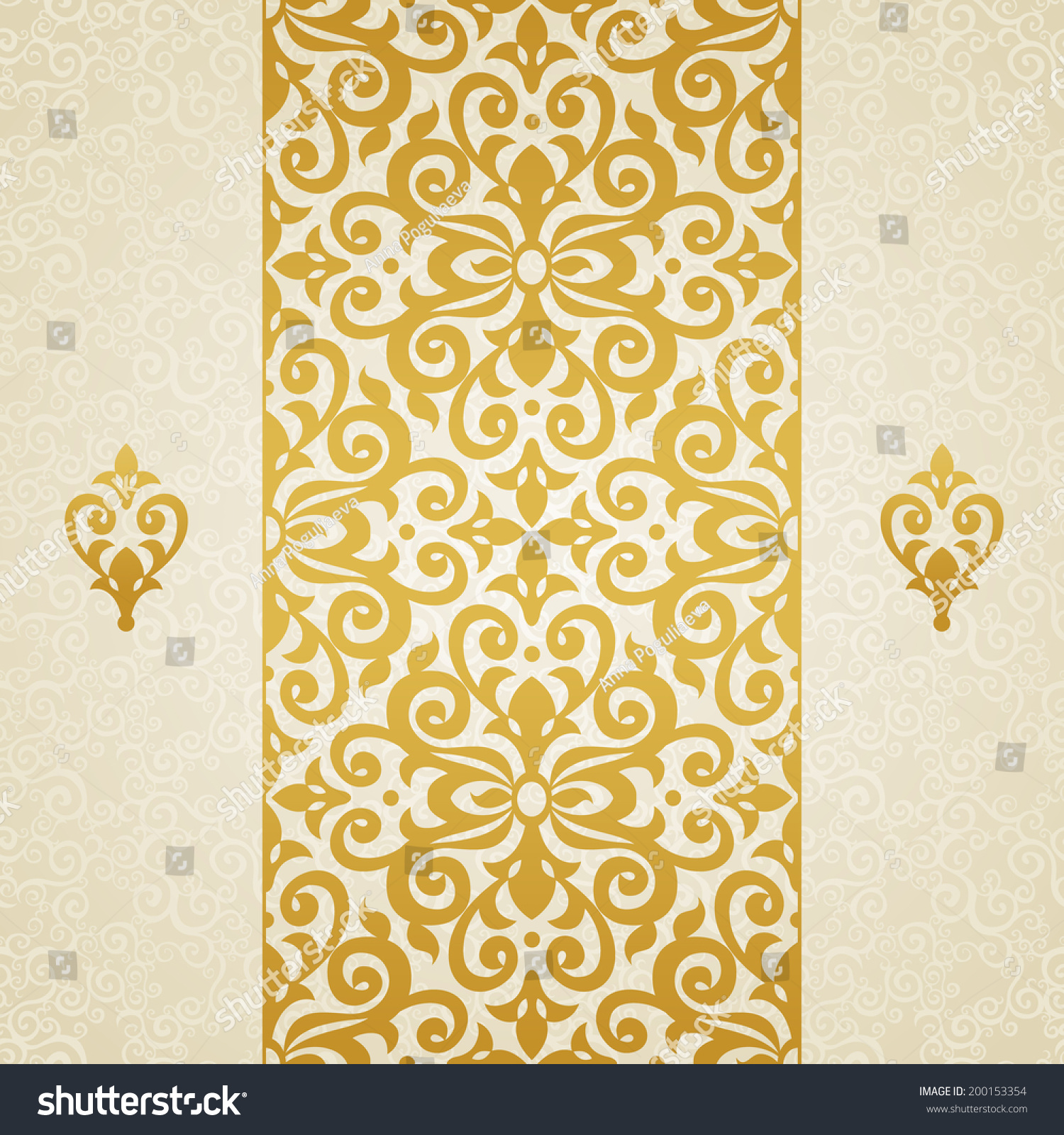 Golden Design Wallpaper : Golden vector seamless border victorian style vectores en