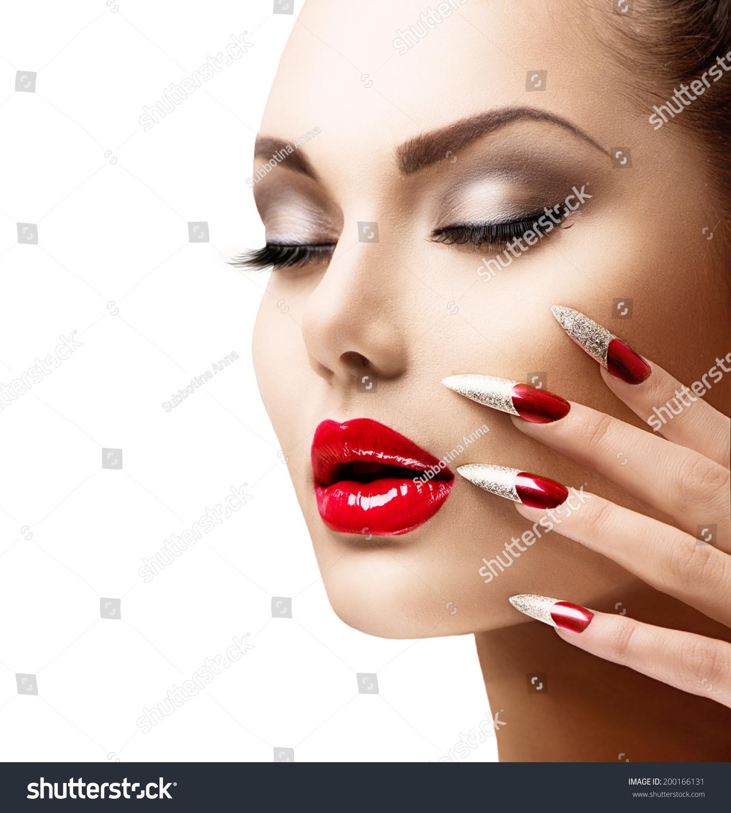 Fashion Beauty Model Girl Manicure Makeup Stock Photo