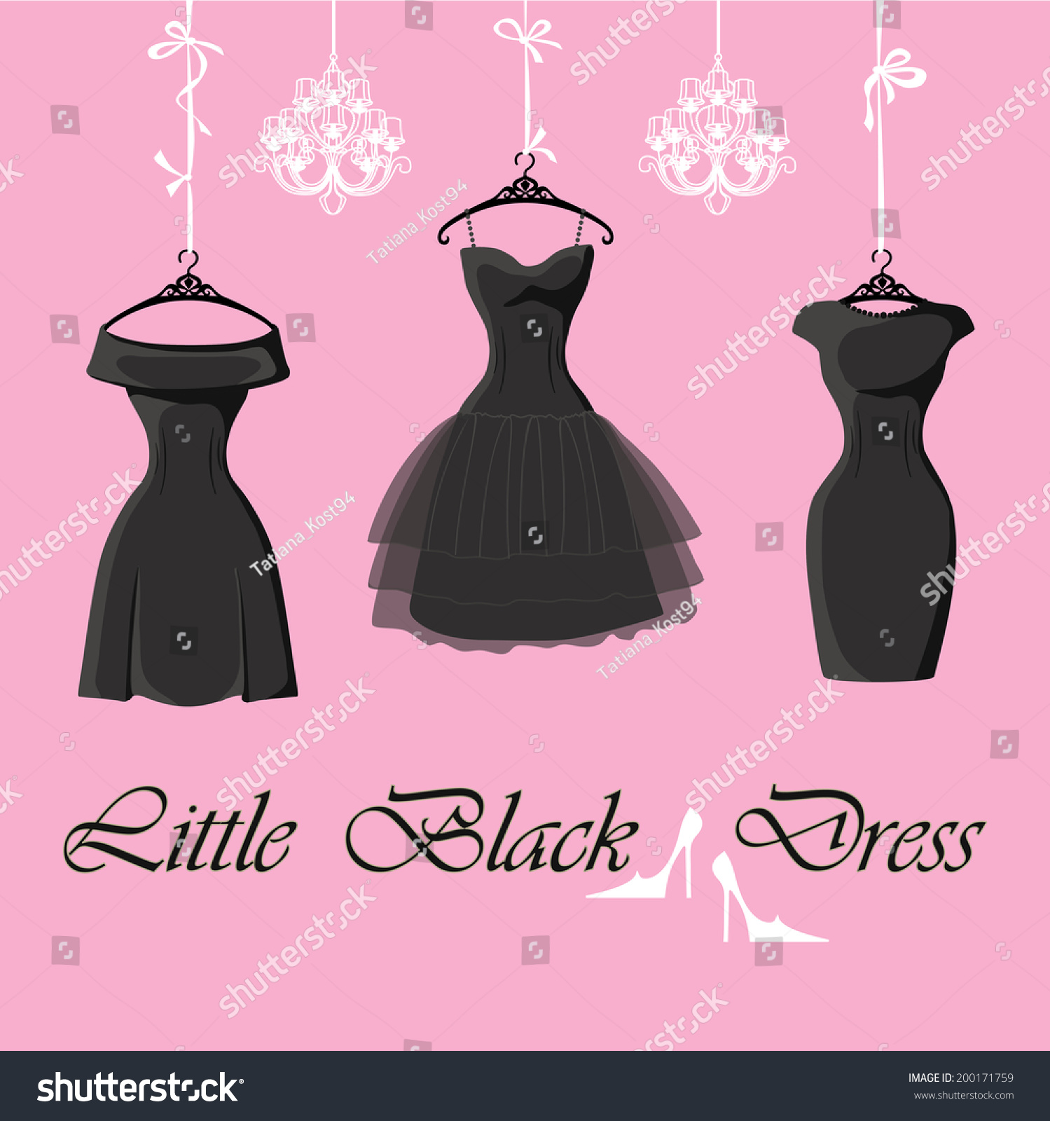 Black dress saying - The Composition Of The Three Female S Little Black Dresses Hang On Ribbons Composition With Chandeliers
