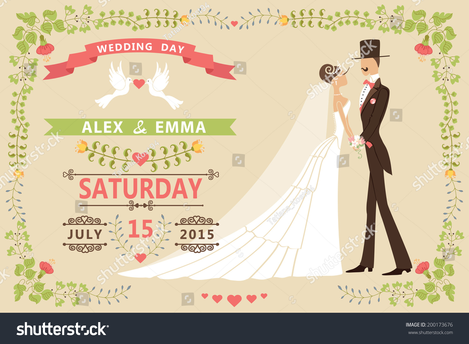 Vintage Wedding Invitation Design Templatecartoon Pigeons Stock