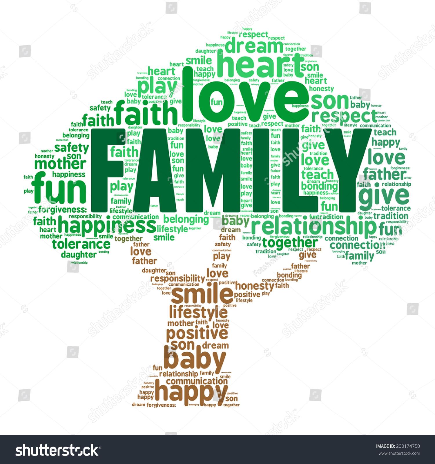 family word cloud shape tree vector stock vector 200174750