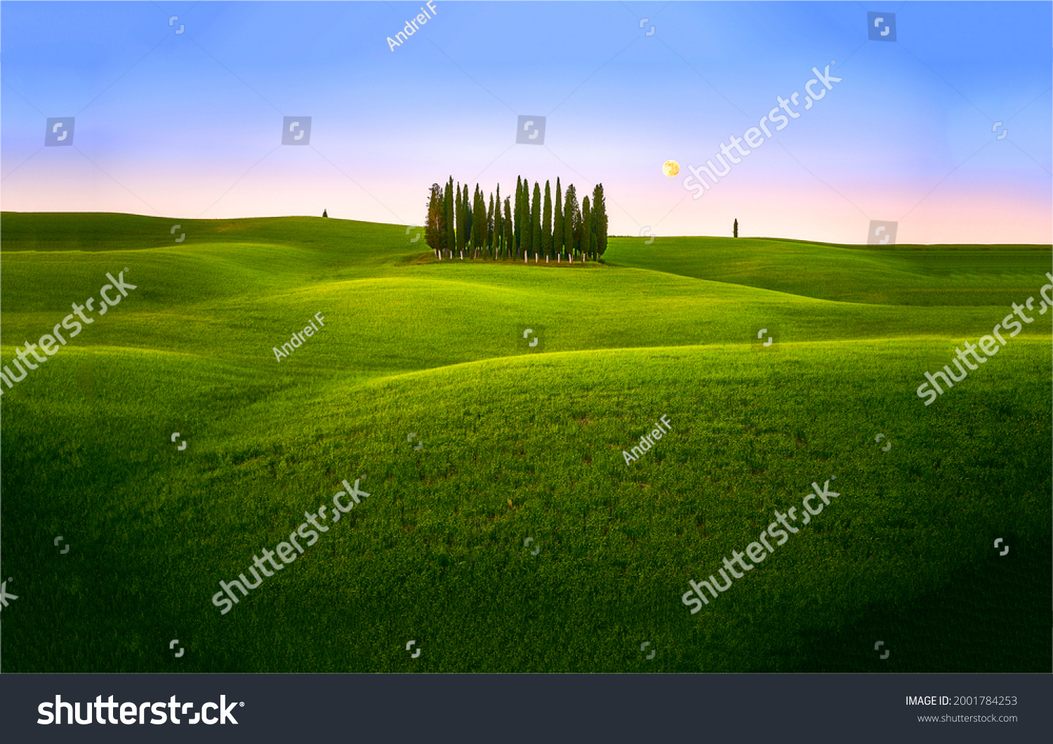 Green hills in the early morning.Summer green hills landscape. Summer green hills at dawn #2001784253