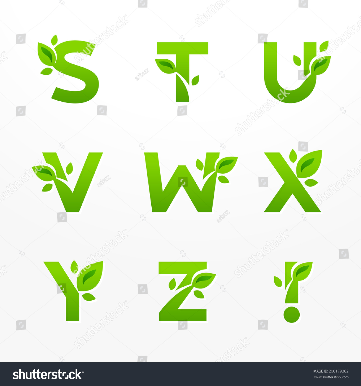 Vector set green eco letters logo stock vector 200179382 shutterstock vector set of green eco letters logo with leaves ecological font from s to z biocorpaavc Gallery