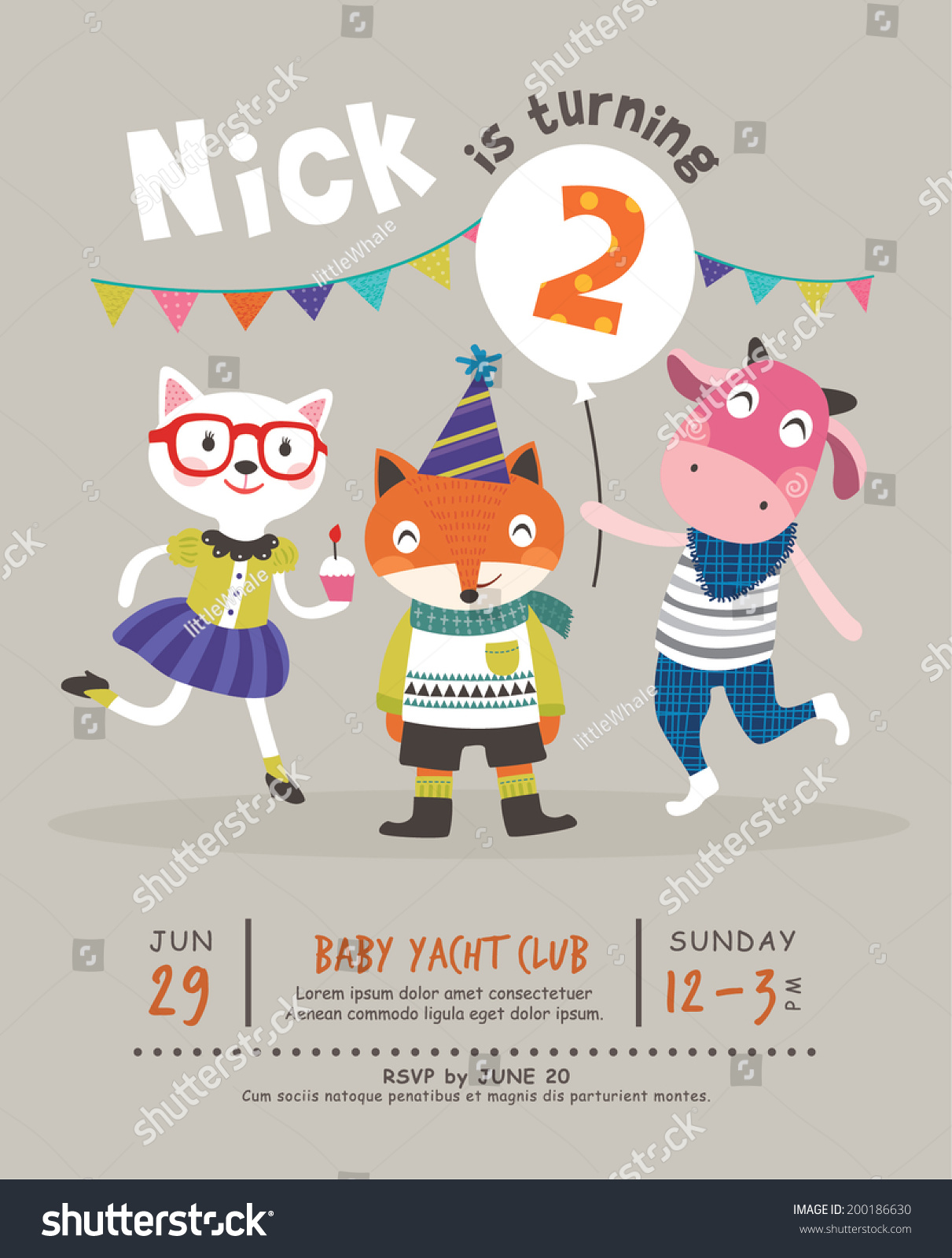 2nd Birthday Party Invitation Card Vector 200186630 – 2nd Birthday Party Invitations