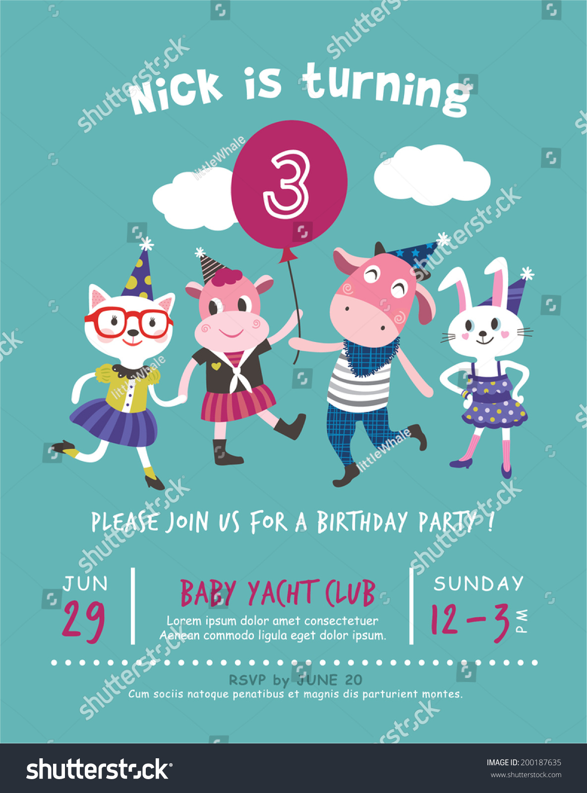 3rd Birthday Party Invitation Card Stock Vector HD (Royalty Free ...