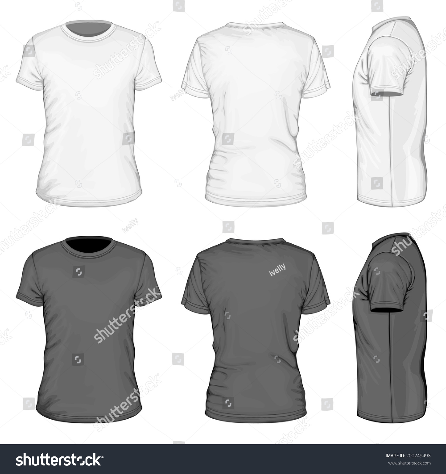 White t shirt front and back template - Men S White And Black Short Sleeve T Shirt Design Templates Front Back