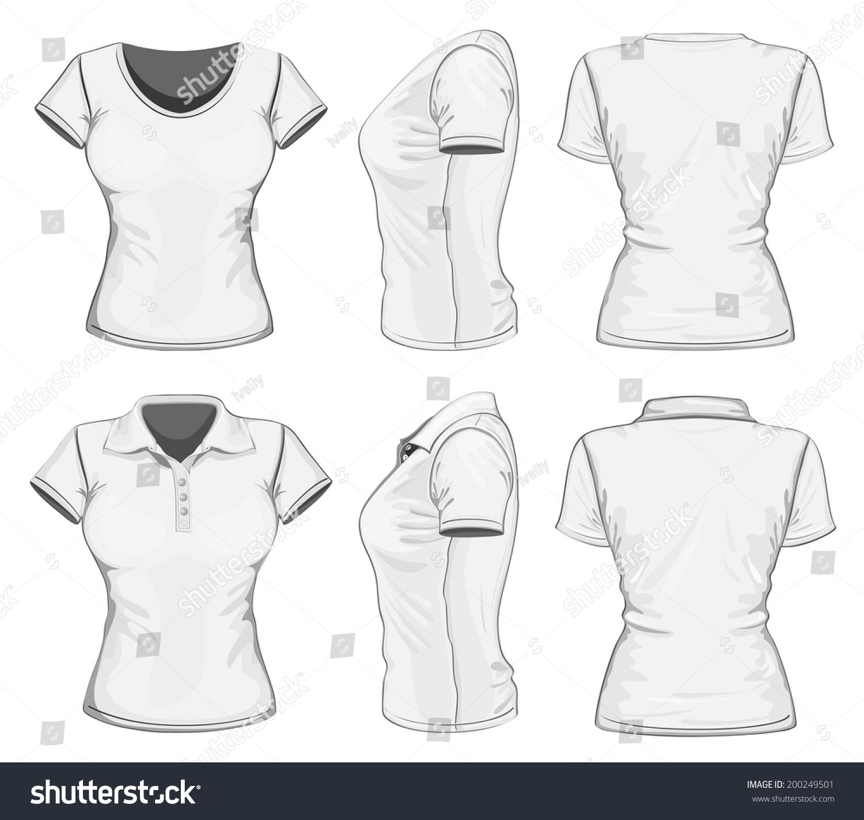 womens white short sleeve poloshirt tshirt stock vector