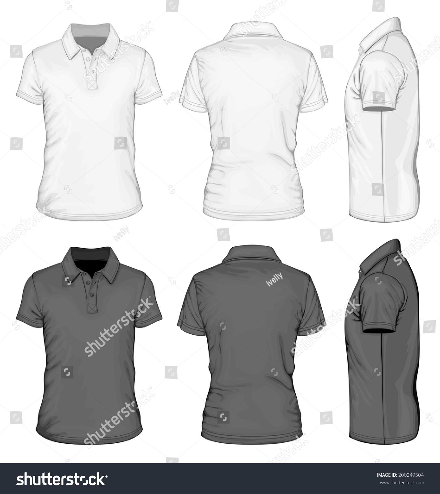 Mens White Black Short Sleeve Poloshirt Stock Vector