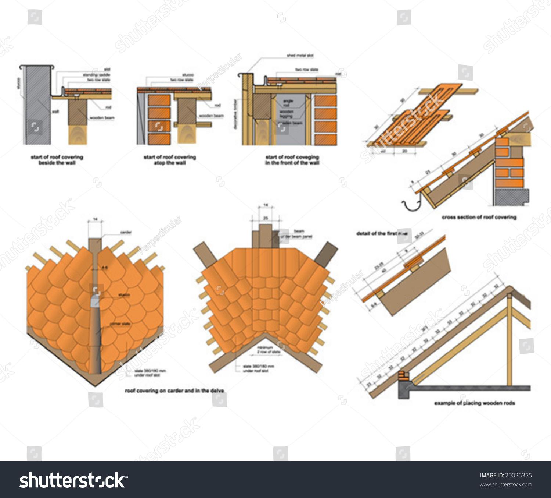 details roof construction stock vector shutterstock