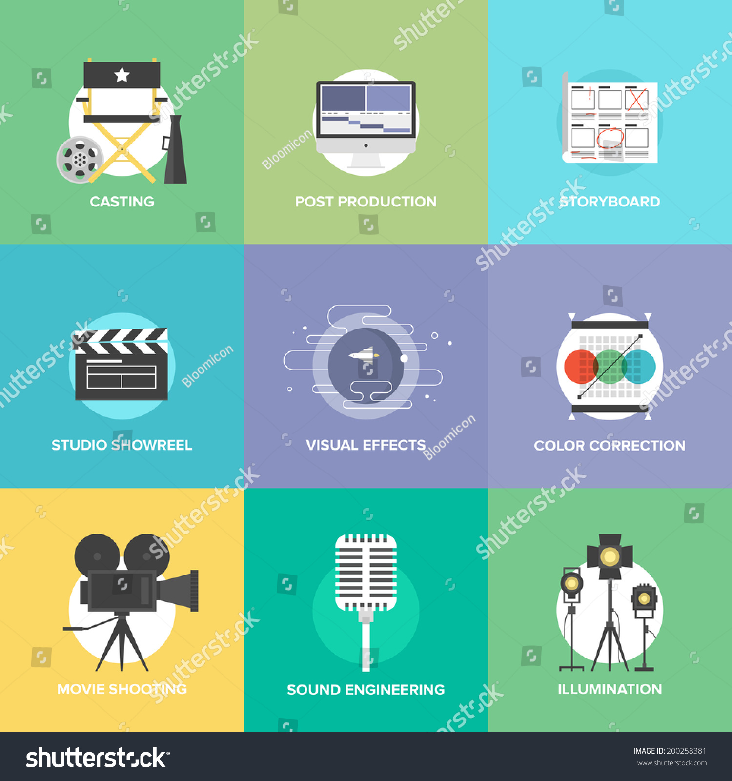 Flat Icons Set Professional Film Production Stock Vector ...