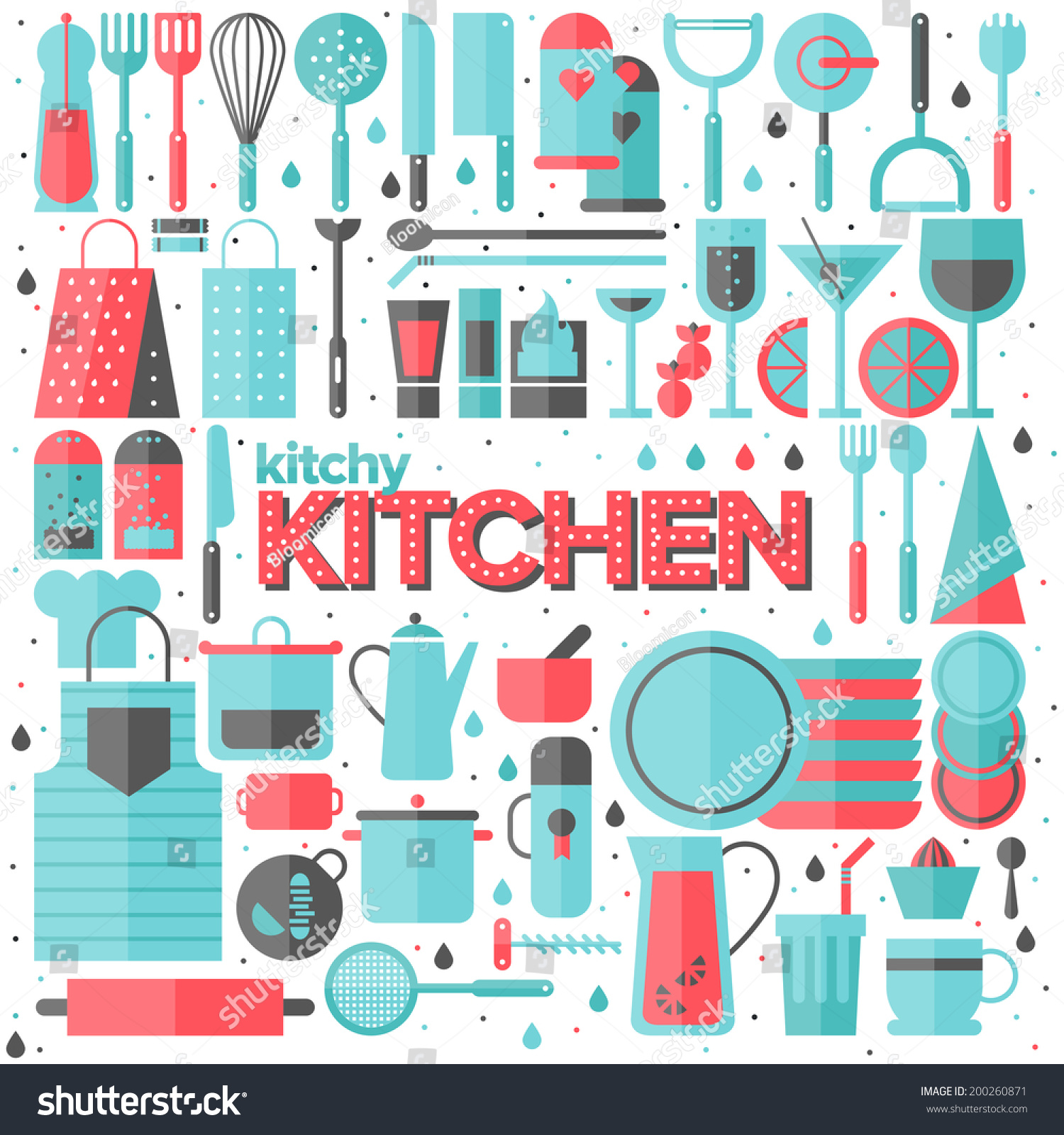 Kitchen Poster Food As Alphabet With Food Name: Flat Icons Set Of Kitchen Utensil And Collection Of