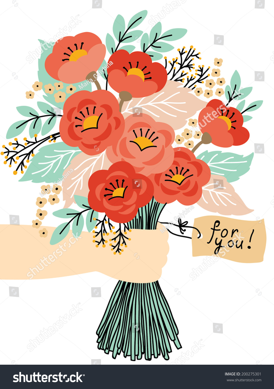 Gift You Beautiful Flower Bouquet Wedding Stock Vector 200275301 ...