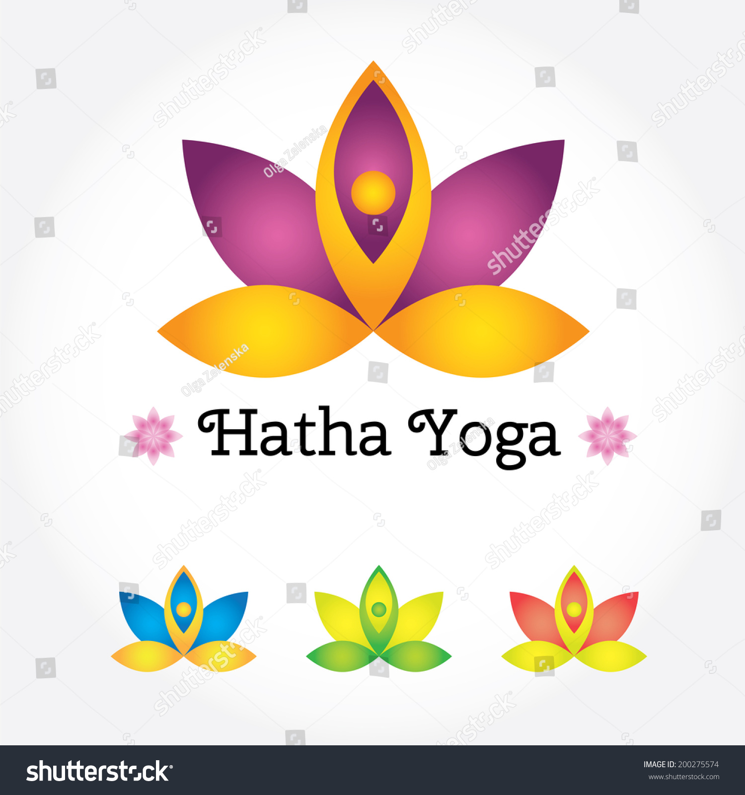 Hatha Yoga Sign Lotus Flower Different Stock Vector Royalty Free