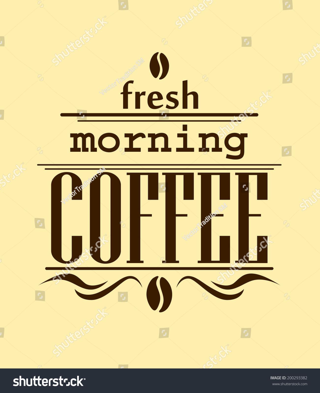fresh morning coffee banner logo brown stock vector 200293382