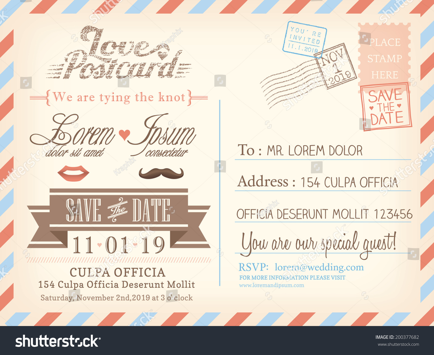 Airmail Wedding Invitations: Vintage Airmail Postcard Background Vector Template Stock