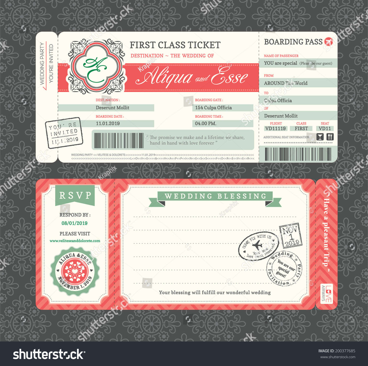 vintage boarding pass ticket wedding invitation stock vector 200377685 shutterstock. Black Bedroom Furniture Sets. Home Design Ideas