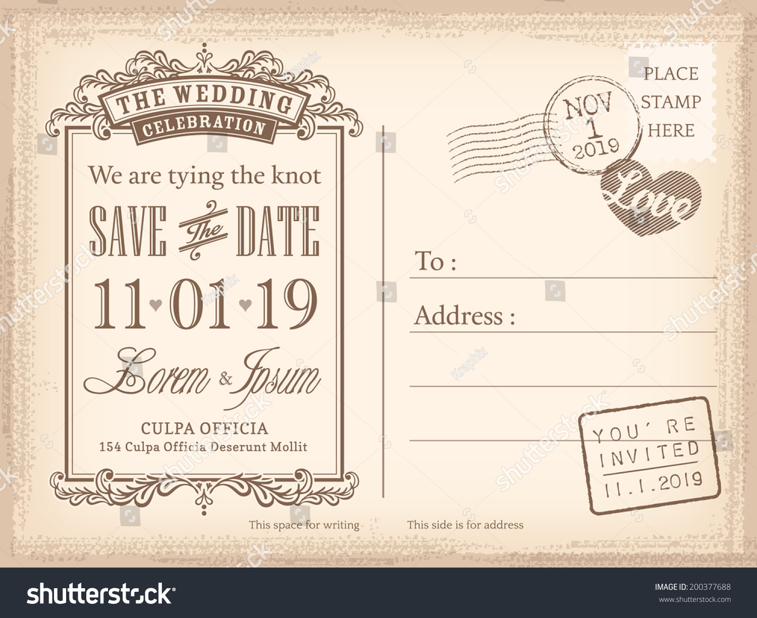 Vintage Postcard Save Date Background Wedding Stock Vector ...