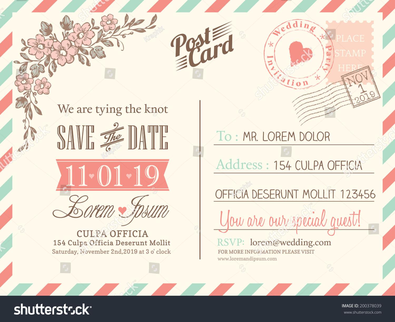 Wedding Invitation Postcards Templates: Vintage Postcard Background Vector Template For Wedding