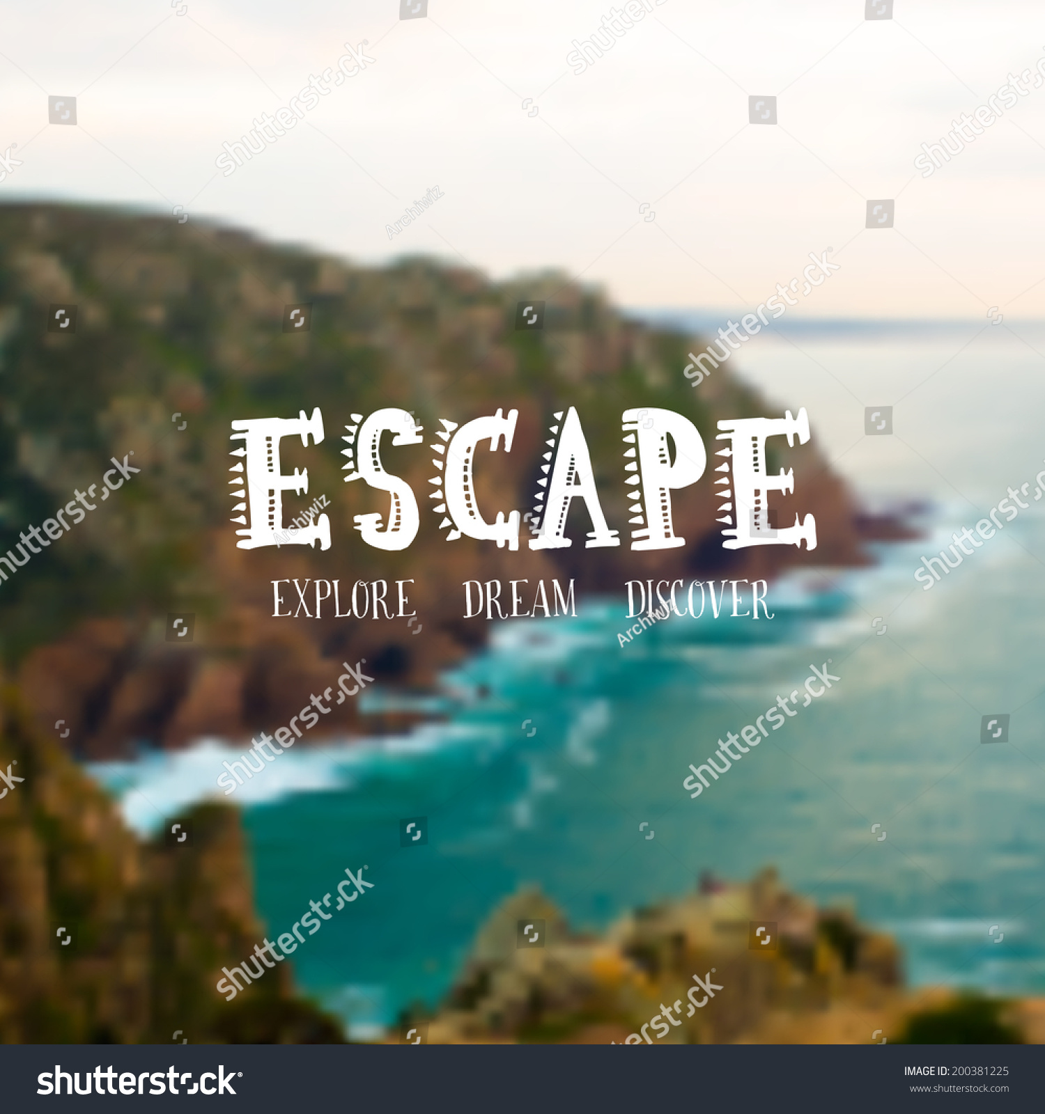 Travel Escape Quotes: Vector Retro Typography. Travel Label In Blurred Cliff