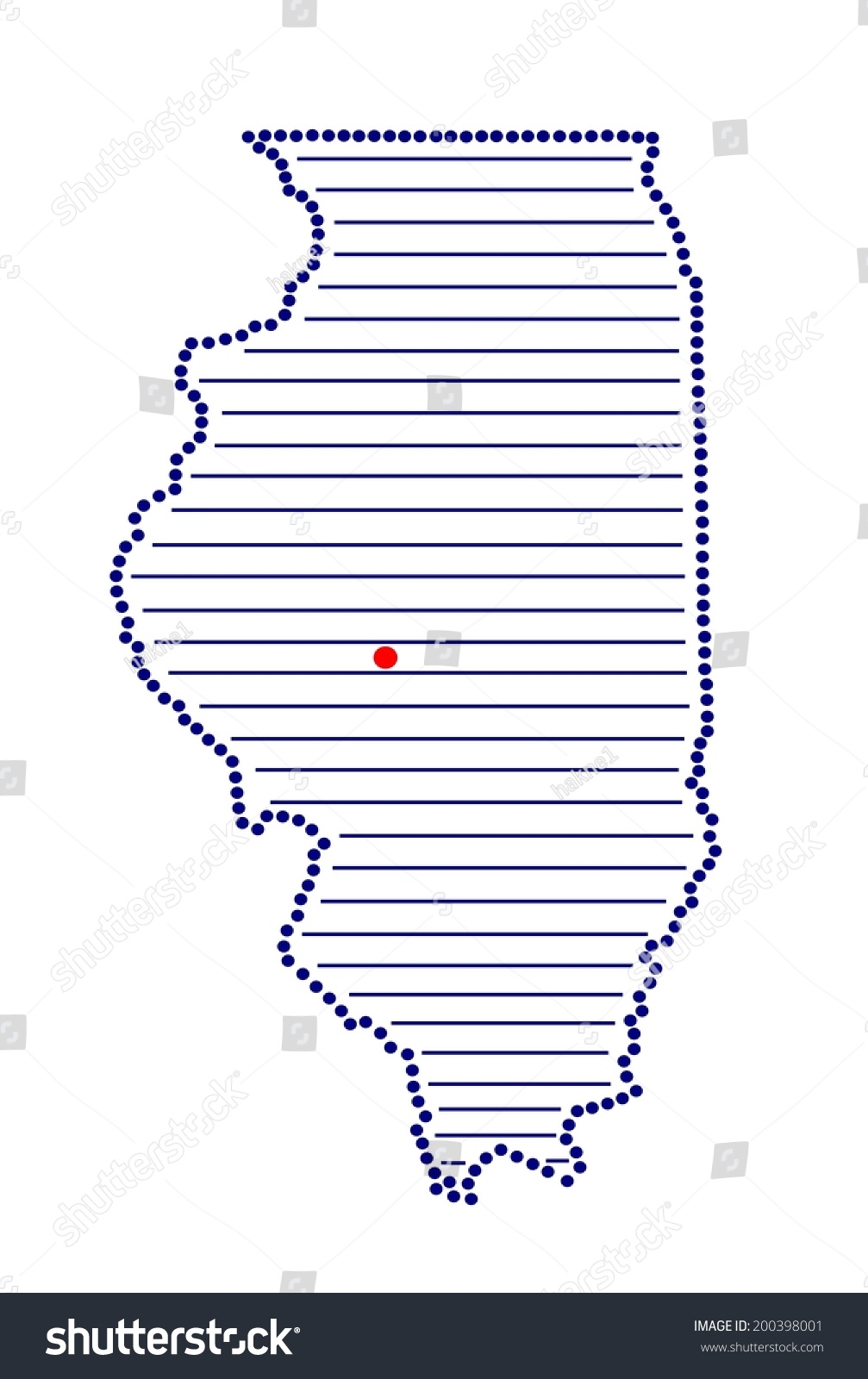 Stylized Map Of Illinois With Marked Capital Vector - Map of illinois with capital