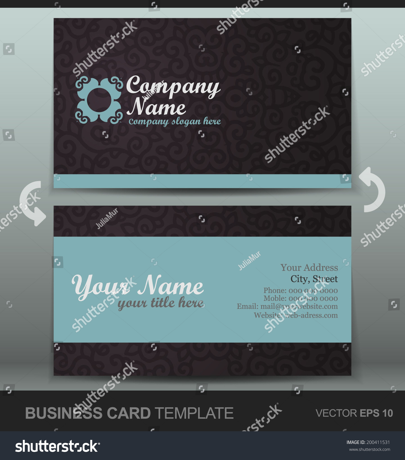 professional business cards template visiting card stock vector