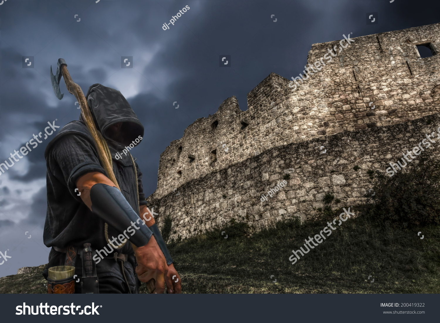 A Medieval Executioner With A Castle Wall And The Dark Sky ...