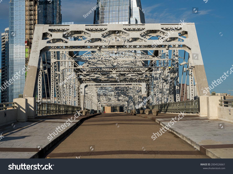 John Seigenthaler pedestrian bridge or Shelby street crossing leaving downtown Nashville Tennessee #2004526661