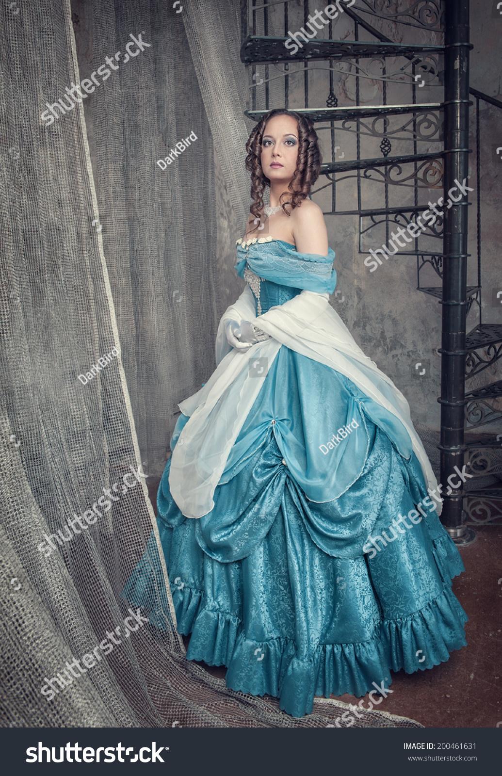 Beautiful Woman Blue Medieval Dress Near Stock Photo (Edit Now ...